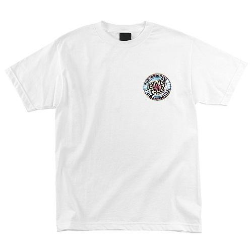 Бяла тениска, Калифорния, спирала, скейтборд облекло, santa cruz, скейтборд екипировка, скейтъркса тениска, магазин за скейтборд