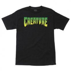 черна тениска, creature skateboards, скейтборд екипировка, маркови тениски, тениска за скейтборд, тениска с щампа, база,